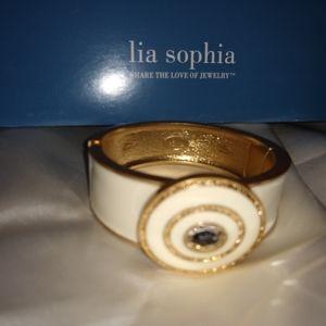 Beautiful Lia Sophia Bracelet White with Gold Trim